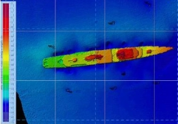 Multi-beam sonar image showing the depth gradient over the ex-HMAS Brisbane. Photo courtesy of and copyright Maritime Safety Queensland.