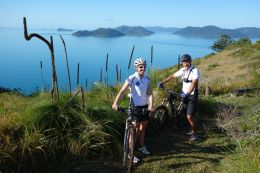 Mountain biking on the Sandy Bay track, South Molle Island. Photo: Darren Larcombe, Queensland Government