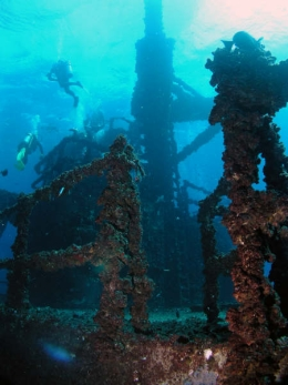 The wreck has been kept in virtually original condition to make it visually appealing and interesting for divers to explore. Photo courtesy of and copyright Scuba World, Mooloolaba.