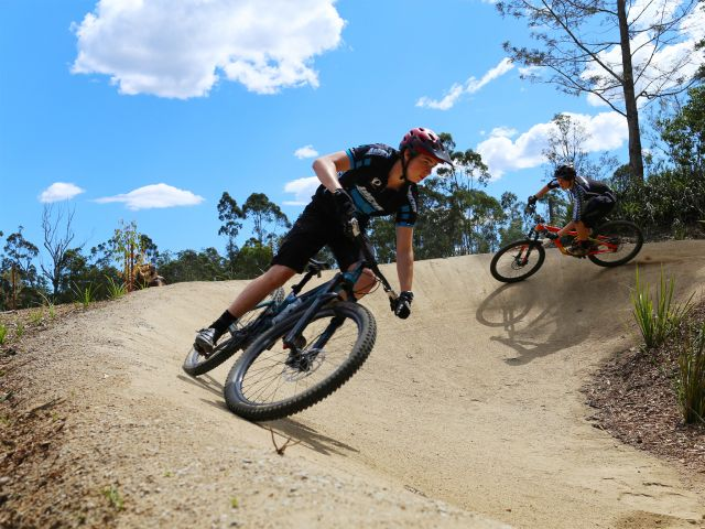Experienced mountain bikers can ride the challenging Flow trail at the Mountain Bike Skills Course. Photo: Hannah S.