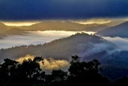 Dawn over the Conondale Range from Mount Allan fire tower.