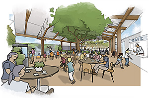 Artist impression of the new covered outdoor deck at the Walkabout Creek Café and Function centre.
