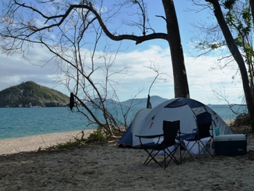 Camping on Coombe Island. Photo: Julie Lightfoot.