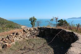Find a WWII gun pit on the Forts walk. Photo: Fiona O'Grady, Queensland Government.