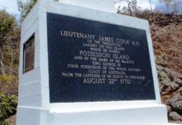 A monument to Lieutenant James Cook stands on the island. Photo: Queensland Government.