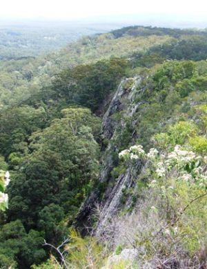View over the rockclimbing area at Mount Tinbeerwah. Photo: Queensland Government.