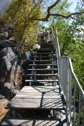 Stairs and boardwalk to Trezkinn Cave. Photo:Queensland Government