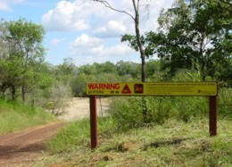 Crocodile warning sign.