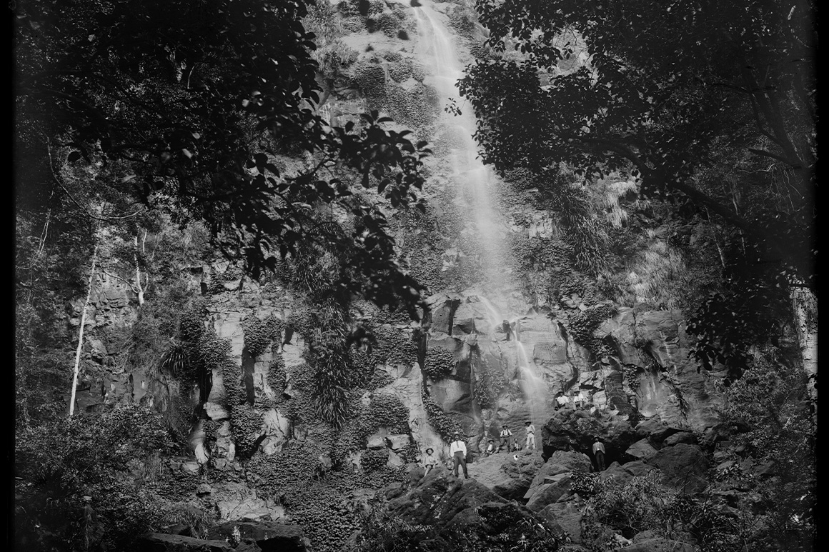 Old black and white image of people standing at the base of a huge waterfall surrounded by very tall forest.