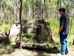 Remains of World War II officers' mess fireplace. Photo: Tamara Vallance, Queensland Government