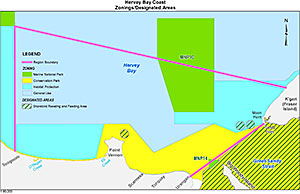 Map showing Hervey Bay Coast region of the Great Sandy Marine Park.