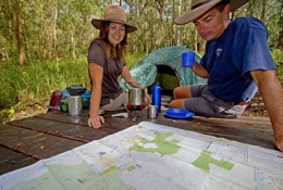 Make sure you purchase a copy of the Great Walk topographic map before setting out. Photo: Robert Ashdown, Queensland Government.