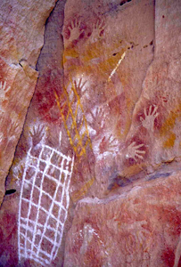 Aboriginal stencil art can be viewed on the first section of the Great Walk. Photo: R. Ashdown, Queensland Government