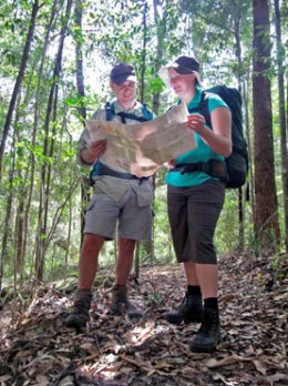 Experience in using topographic maps is important for completing this walk. Photo: Robert Ashdown, Queensland Government.