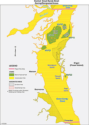 Map showing Central Great Sandy Strait region of the Great Sandy Marine Park.