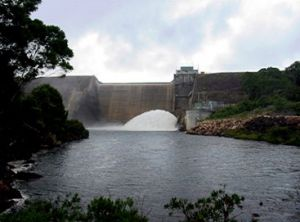 Kooombooloomba Dam, on the Tully River, was constructed to provide hydro-electric power.