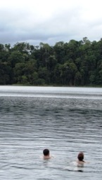 Image of 2 adults swimming. Please use the water access points when entering the water.
