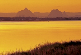 Image of the Glass House Mountains, from Pumicestone Passage.