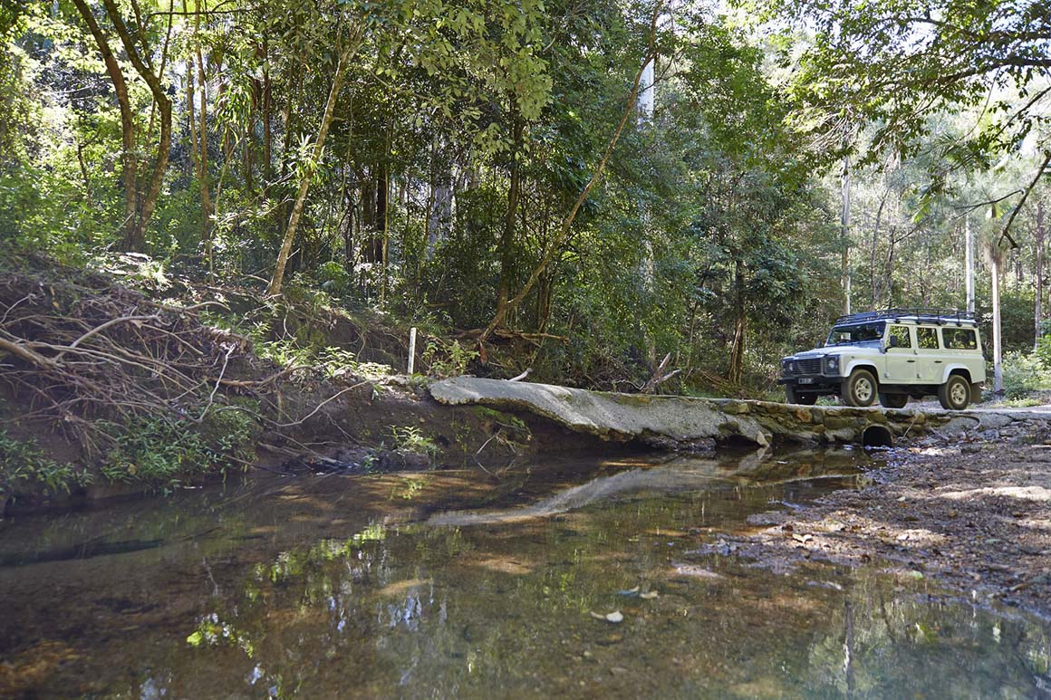 Four-wheel-drive vehicle drives across a creek crossing, surrounded by rainforest.