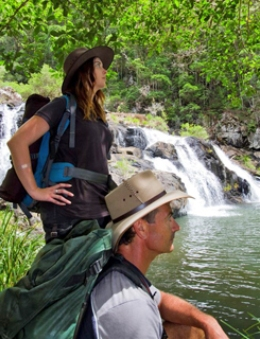 Taking a break at Booloumba Falls. Photo: Robert Ashdown, Queensland Government.