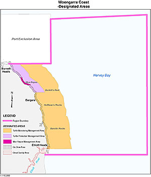 Map showing designated areas in the Woongarra Coast region of the Great Sandy Marine Park.