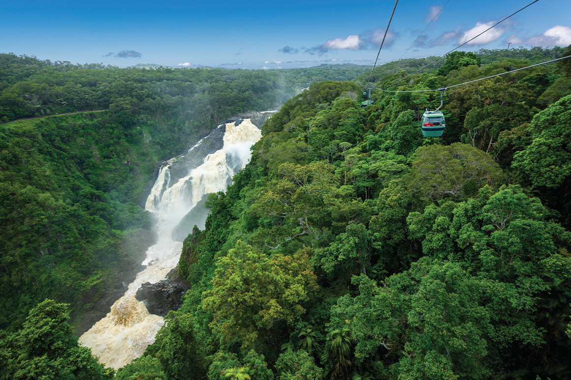 A gondola passes high above scenic waterfall surrounded by rainforest.