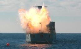 The scuttling of ex-HMAS Brisbane. Photo: Adam Creed, Queensland Government.