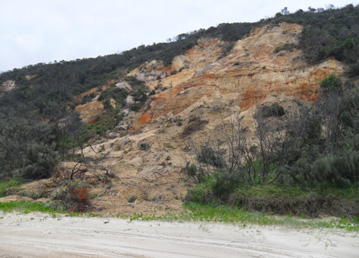 Exposed sand cliffs can collapse without warning. Keep your distance and supervise children at all times. Photo: Rob Cameron, Queensland Government