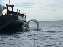 Materials of opportunity, such as donated concrete pipes, were used to enhance Harry Atkinson Artificial Reef.