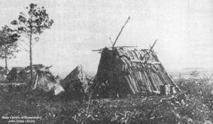 Shelters at Bogimbah, K'gari (Fraser Island), 1902.