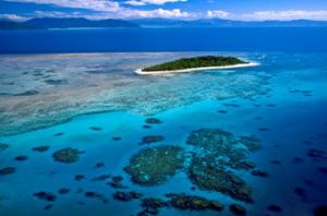 Aerial image of Green Island and the surrounding reef.