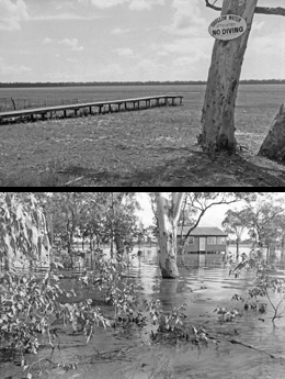 Lake Broadwater is not always full, and can be completely dry at times. Two extremes, from the late 1960s (top) and 1983 (bottom) are shown here. Photos courtesy of Lake Broadwater Natural History Association