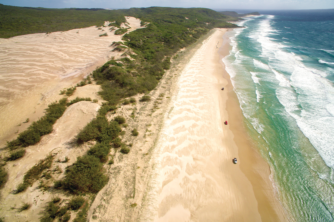 Long sandy beach fringed by ocean on one side and sand dunes on the other.