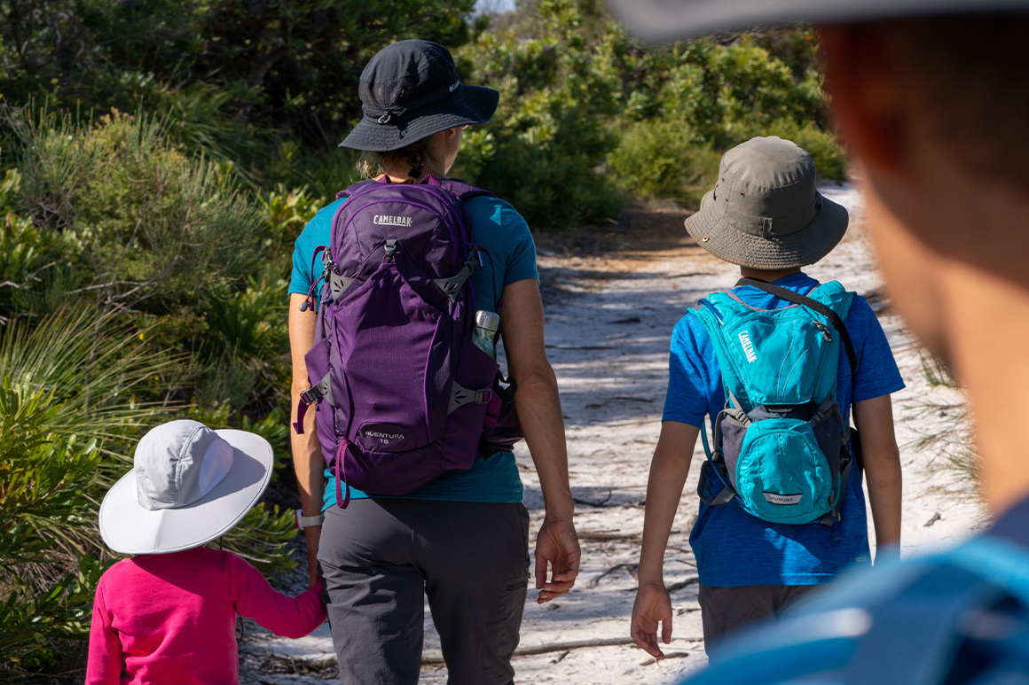 Family of walkers carrying day packs.