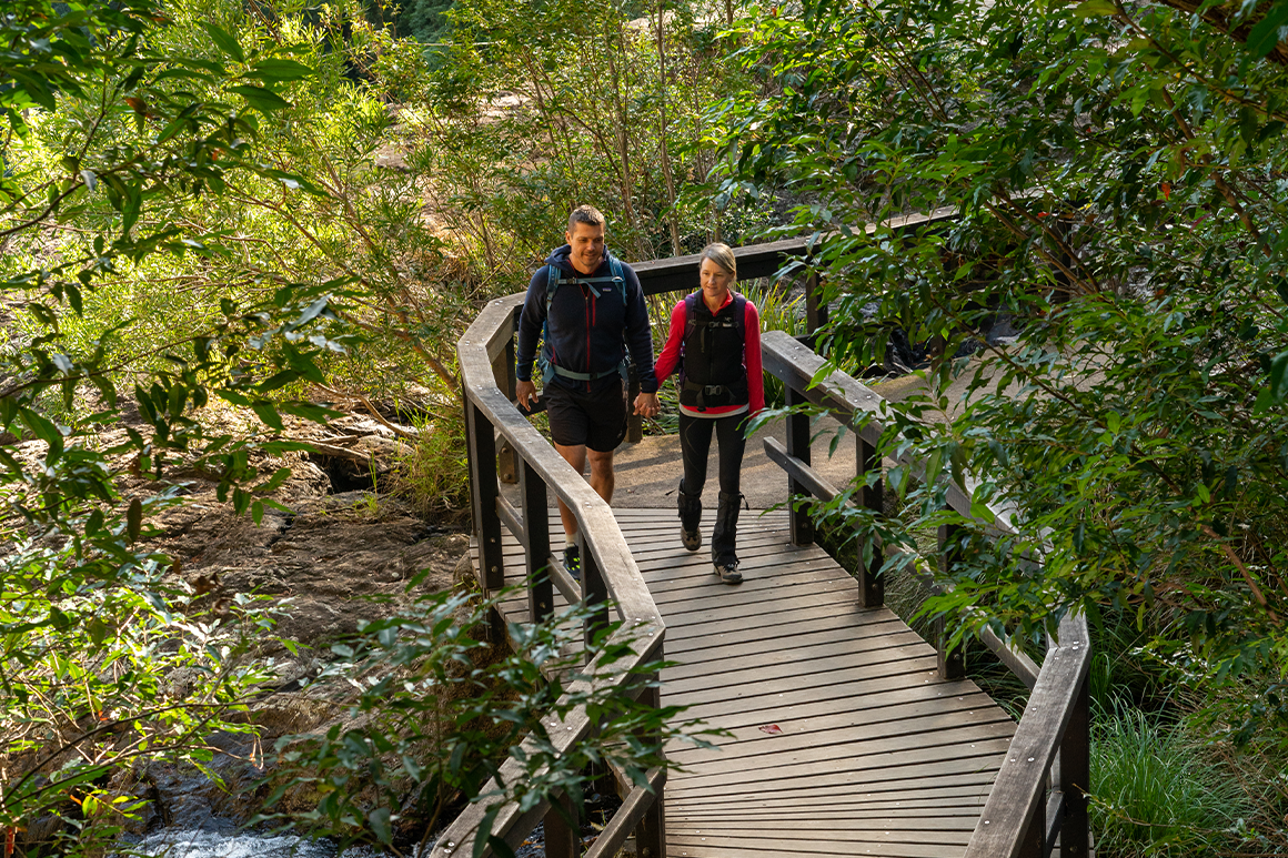 Two hikers holding hands walk across a wooden suspension bridge.