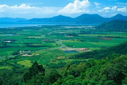 The upper section of the park is in the Atherton Tableland, overlooking Cairns, Queensland.