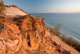 Over thousands of years, weakly cemented sand grains containing iron oxides produced rocky outcrops along giant sand cliffs in Cooloola. For your safety, keep clear of the steep, crumbling cliff edges of Carlo Sandblow.