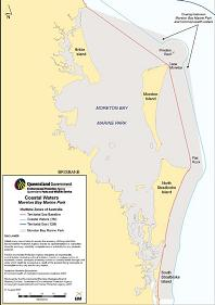 Thumbnail map image: Moreton Bay Marine Park in relation to Queensland coastal waters.