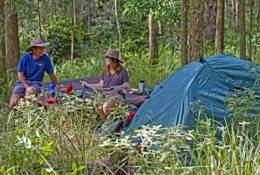 Image of campers set up at one of the Walkers camps