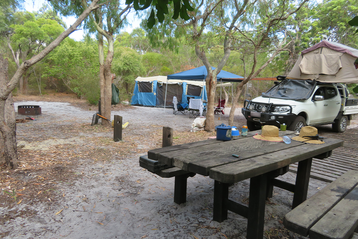 Tent, car-topper camper and picnic table set in a forest clearing comprise a remote camp site.