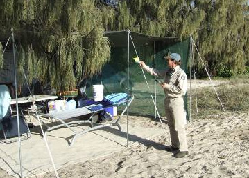 A camping tag with booking number must be displayed at all camp sites for rangers to check. Photo: Alyssa Muller, Queensland Government