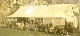Cobb and Co. coach outside a hotel in Atherton, 1895.