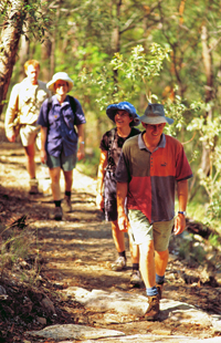 Be prepared when walking at Cania Gorge. Always carry water, and expect very hot days in summer. Photo: Robert Ashdown, Queensland Government.