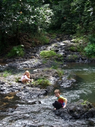 Henrietta Creek near the camping area is a popular place to refresh.