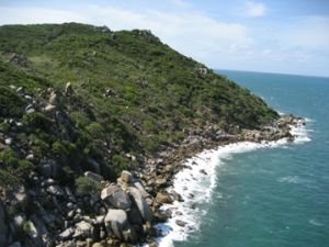Aerial image of the rocky coastline exposed.