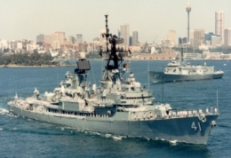 HMAS Brisbane leaving Sydney Harbour on route to Mooloolaba.