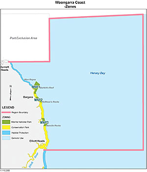 Map showing zones in the Woongarra Coast region of the Great Sandy Marine Park.