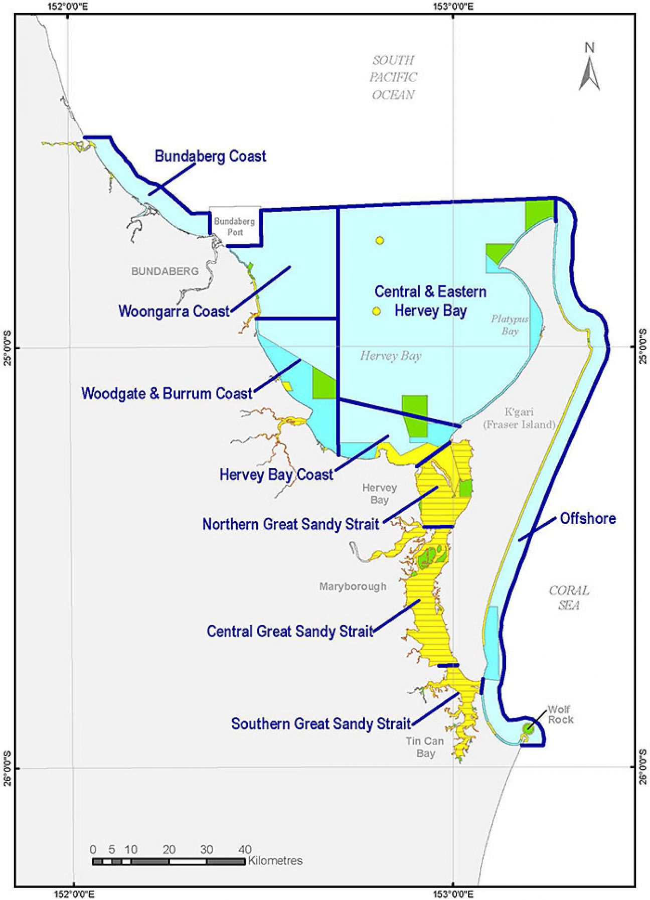 Map showing Great Sandy Marine Park's regions.