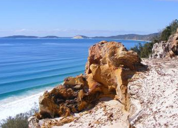 Carlo Sandblow is an easily accessible, high vantage point on the Cooloola sandmass offering great views of Double Island Point. Photos: Marc Dargusch, Queensland Government